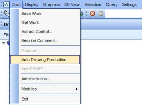 Draft>Auto Drawing Production from the main menu. This displays the ADP main menu bar containing the