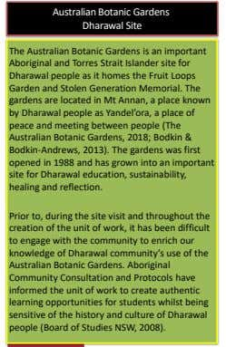 Australian Botanic Gardens Dharawal Site The Australian Botanic Gardens is an important Aboriginal and Torres
