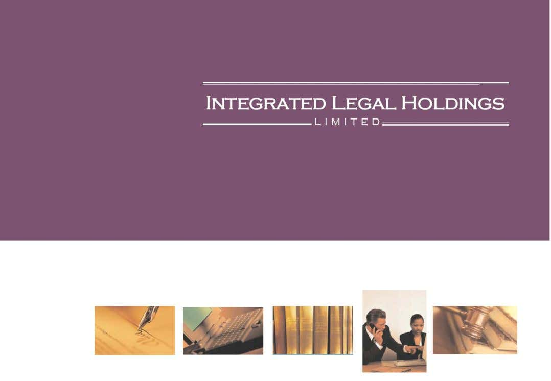 INTEGRATED LEGAL HOLDINGS LIMITED ACN 120 394 194 (ASX: IAW) Financial Report For the year