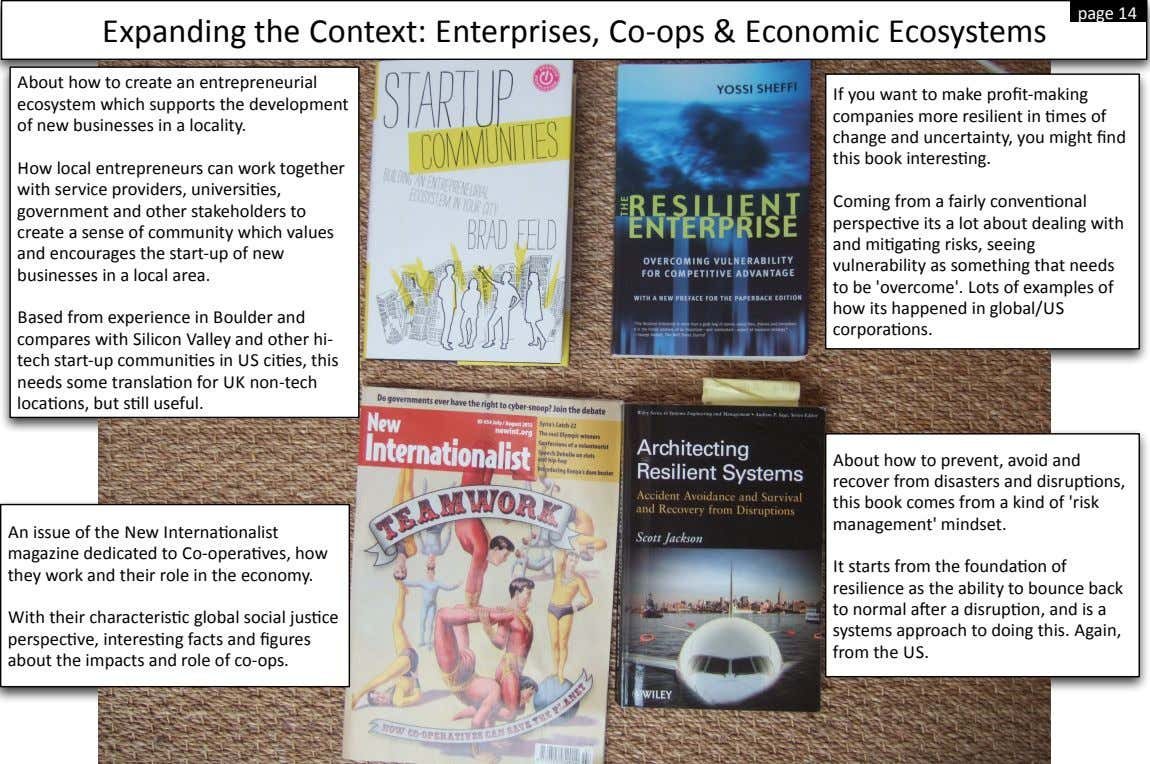 page$14 Expanding$the$Context:$Enterprises,$CoLops$&$Economic$Ecosystems About$how$to$create$an$entrepreneurial$