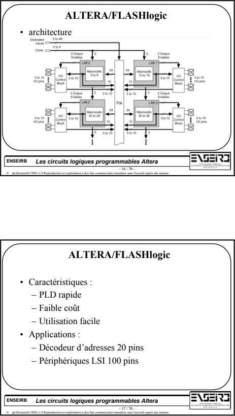 ALTERA/FLASHlogic • architecture ENSEIRB Les circuits logiques programmables Altera - 16 / 70 - 