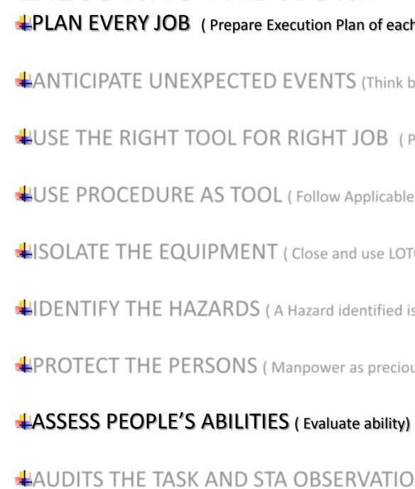 PLAN EVERY JOB ASSESS PEOPLE'S ABILITIES ( Evaluate ability)