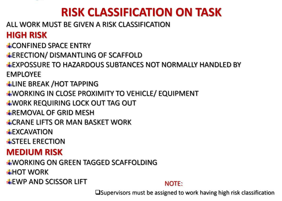 RISK CLASSIFICATION ON TASK ALL WORK MUST BE GIVEN A RISK CLASSIFICATION HIGH RISK CONFINED SPACE