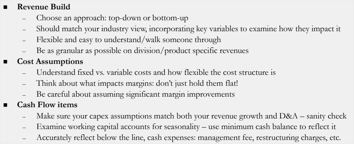 Revenue Build – Choose an approach: top-down or bottom-up – Should match your industry view,