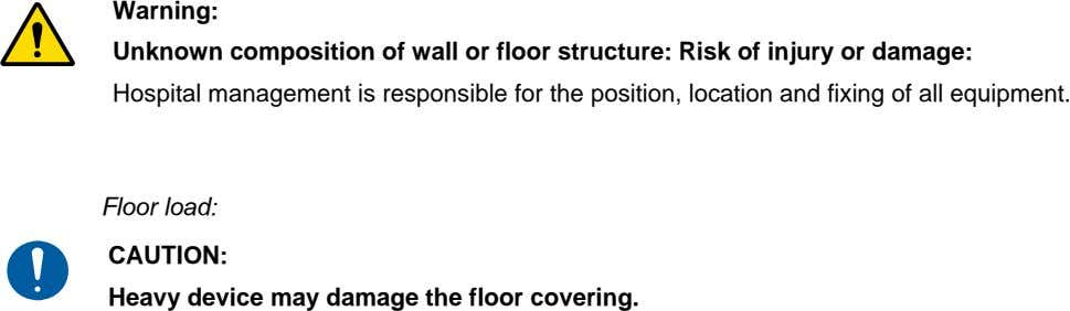 Warning: Unknown composition of wall or floor structure: Risk of injury or damage: Hospital management