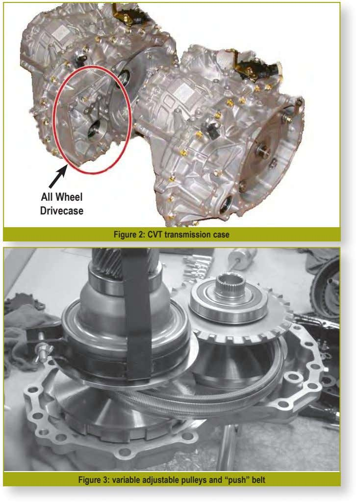 "All Wheel Drivecase Figure 2: CVT transmission case Figure 3: variable adjustable pulleys and ""push"""