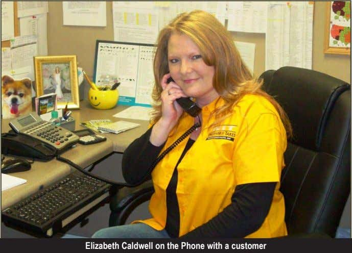 Elizabeth Caldwell on the Phone with a customer
