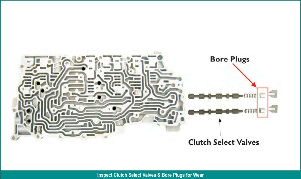 Clutch Select Valves Inspect Clutch Select Valves & Bore Plugs for Wear