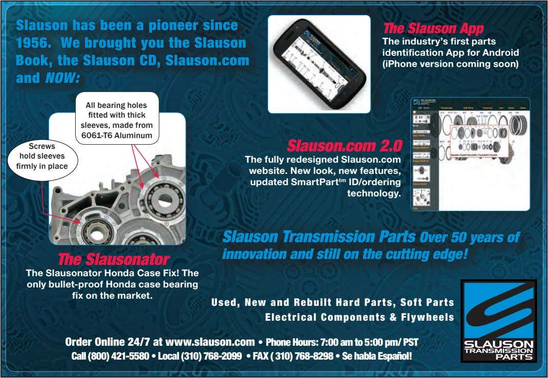 The Slauson App The industry's first parts identification App for Android (iPhone version coming soon)