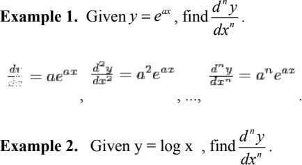 n d y ax Example 1. Given y = e , find . n dx ,