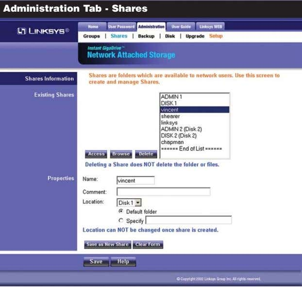 Administration Tab - Shares