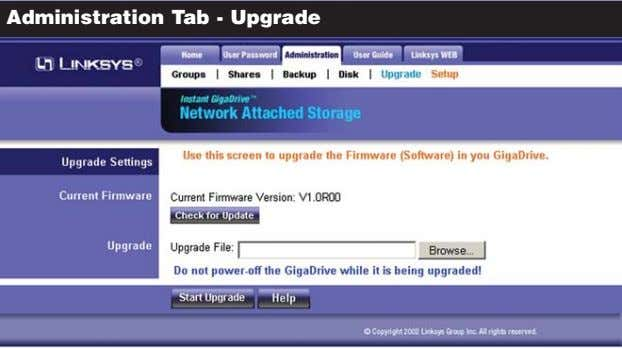 Administration Tab - Upgrade