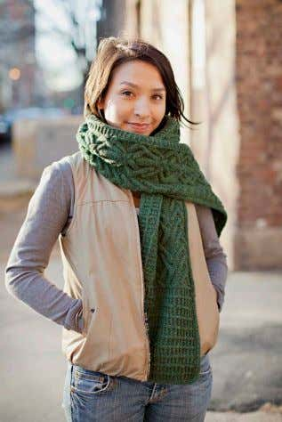 ELFREIDE richly cabled scarf, two lengths provided, asymmetric layout on central panel, sideways top/bottom textured