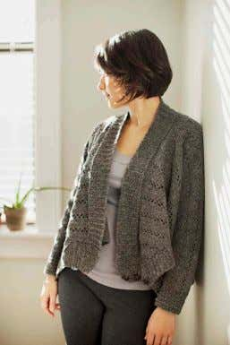 FUSE CARDIGAN drape-front when open, funnel collar with angled fronts when buttoned, raglan yoke, allover