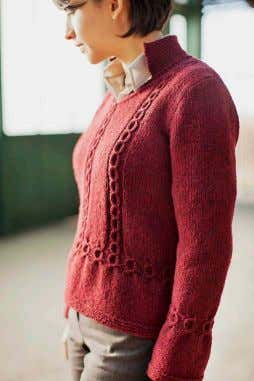 KENDRICK hourglass pullover, coin cable detailing, set-in sleeves, 4-piece con- struction, v-neck, garter stitch johnny