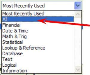 of Excel 2007 to work with, and understand, these functions. Click All in the drop down
