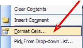 Click -on Format Cells (like you have done before). Your Format Cells menu screen will appear