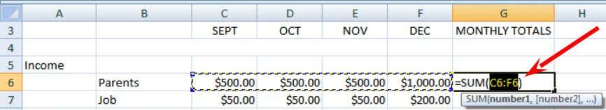 . Your spreadsheet should look similar to the image below: After you have added the four