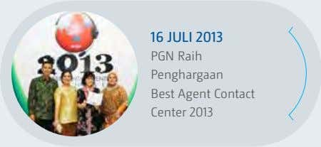 16 juli 2013 PGN Raih Penghargaan Best Agent Contact Center 2013