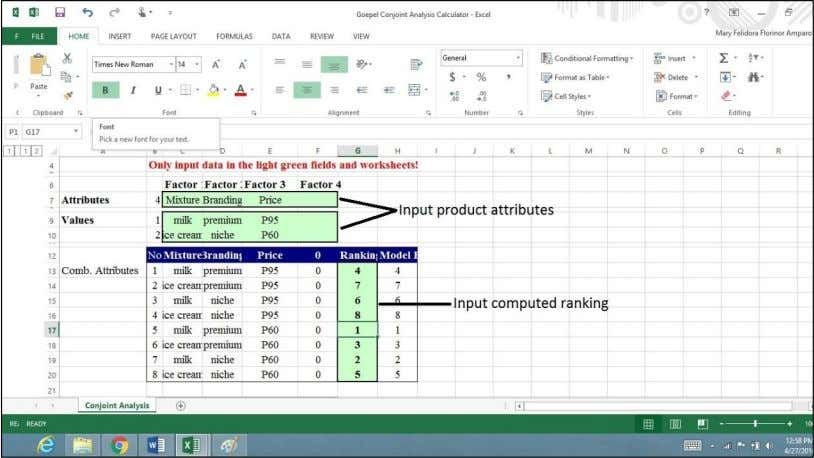 PRICING STRATEGY SY 2016-2017 17 Picture 2 . Goepel Conjoint Analysis Calculator with Encoded Product Attributes