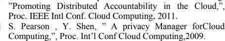 "2011. S. Pearson , Y. Shen, "" A privacy Manager forCloud Computing,"", Proc. Int'l Conf Cloud"