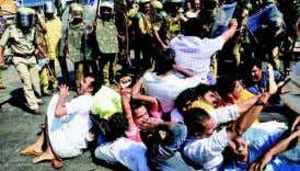 education bandh on Wednesday. A demonstration under- FORCIBLE EVICTION: Police lathi-charged BJP activists who