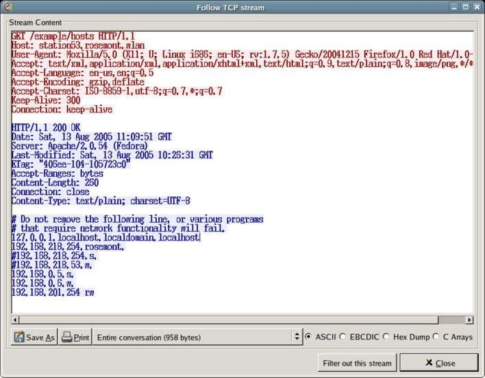 Basics Figure 1-5. Viewing a TCP Conversation with Wireshark The web client, in red, is making