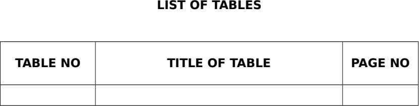 LIST OF TABLES TABLE NO TITLE OF TABLE PAGE NO