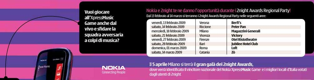 Nokia e 2night te ne danno l'opportunità durante i 2night Awards Regional Party! Vuoi giocare