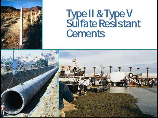 Type II & Type V Sulfate Resistant Cements Portland, Blended, and Other Hydraulic Cements
