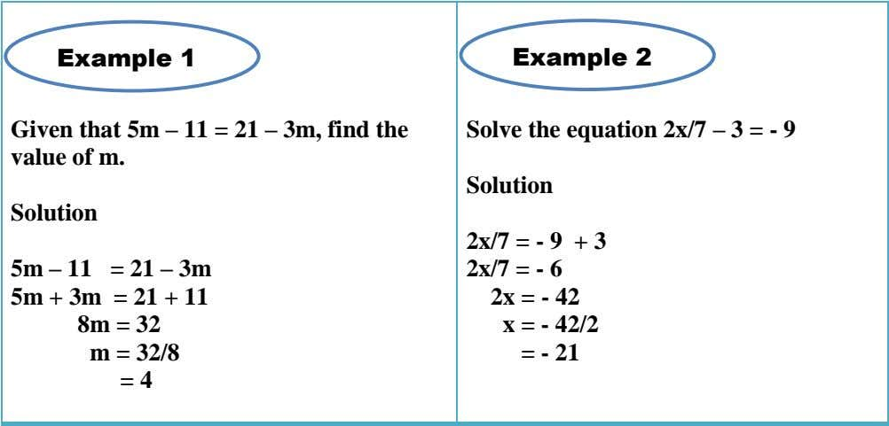 Example 1 Example 2 Given that 5m – 11 = 21 – 3m, find the