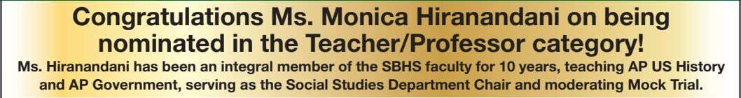 Congratulations Ms. Monica Hiranandani on being nominated in the Te acher/Professor category! Ms. Hiranandani has