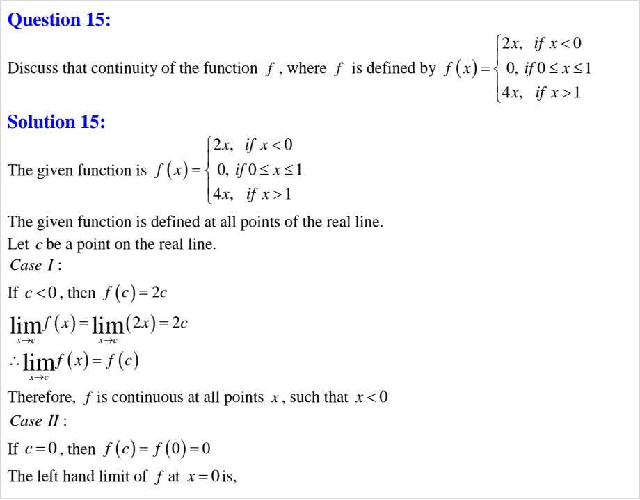 Question 15: f f  2 x , if x   x 0 