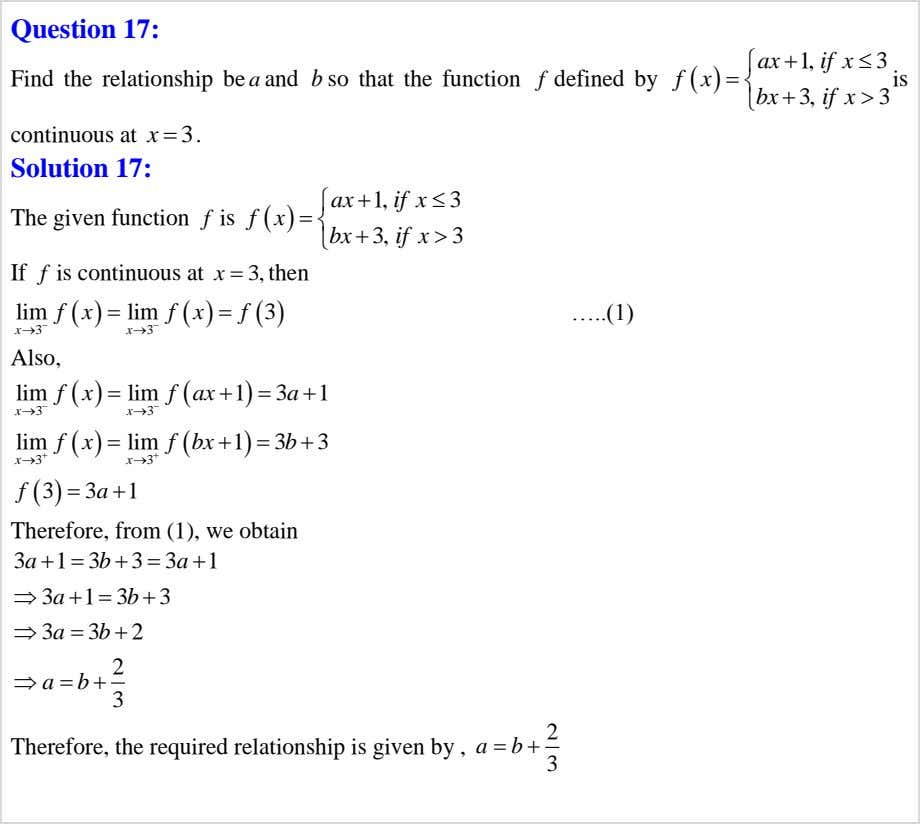 Question 17: f x   ax if x  1,  3  