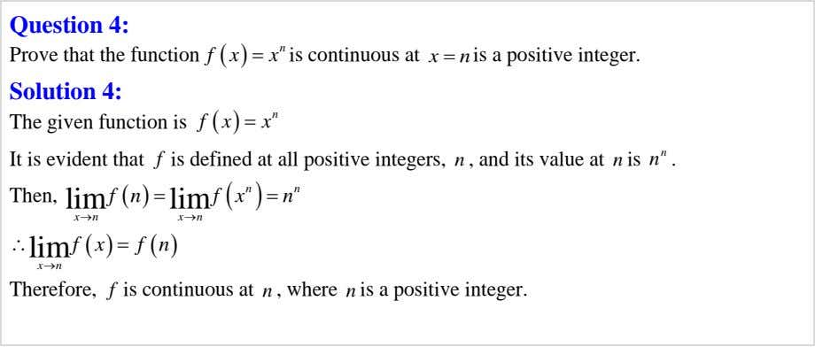 Question 4: f   x  n x  x Prove that the function