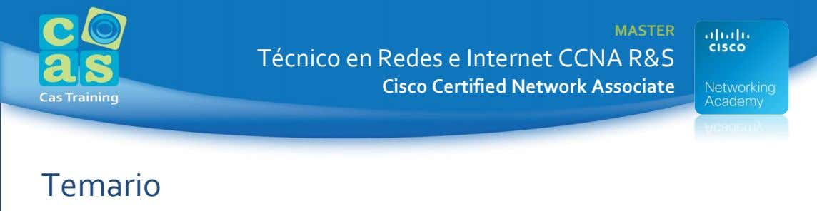 MASTER Técnico en Redes e Internet CCNA R&S Cisco Certified Network Associate Temario