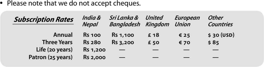  Please note that we do not accept cheques. India & United European Other Subscription