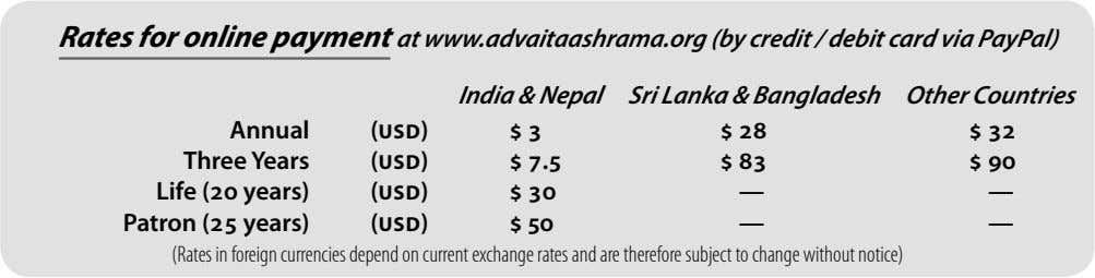 Rates for online payment at www.advaitaashrama.org (by credit / debit card via PayPal) India &