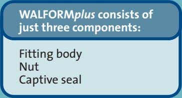 WALFORMplus consists of just three components: Fitting body Nut Captive seal