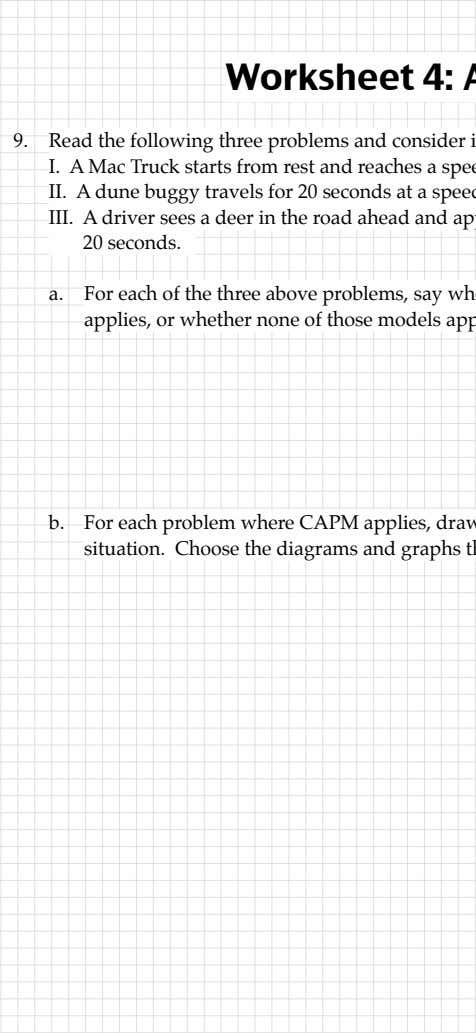 starts from rest and in the road constant acceleration Worksheet 4: Read the following three problems