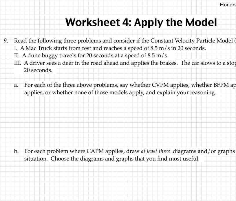 Worksheet 4: Read the following three problems and where CAPM applies, draw at least from Modeling