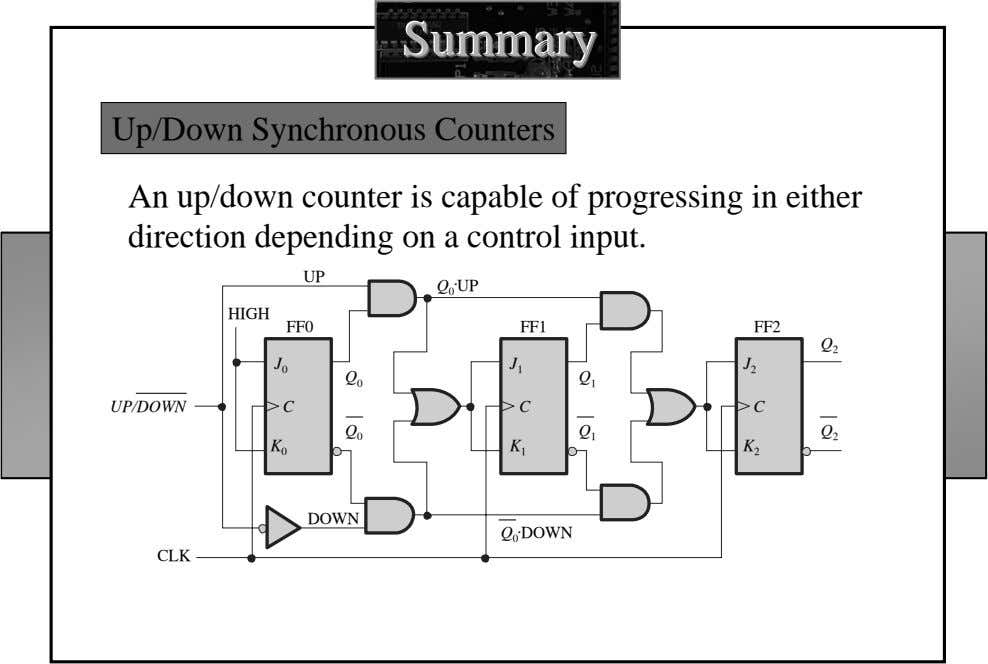 SummarySummarySummary Up/Down Synchronous Counters An up/down counter is capable of progressing in either direction