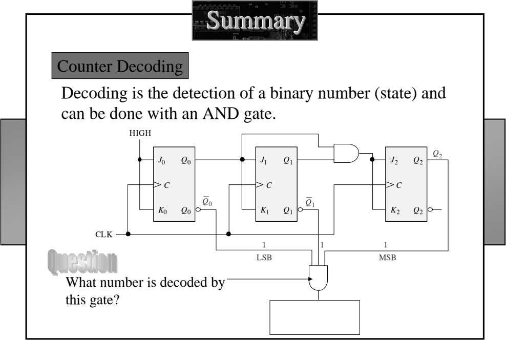 SummarySummarySummary Counter Decoding Decoding is the detection of a binary number (state) and can be