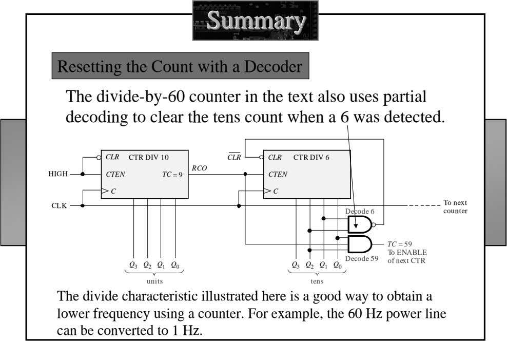 SummarySummarySummary Resetting the Count with a Decoder The divide-by-60 counter in the text also uses