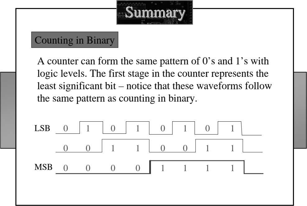 SummarySummarySummary Counting in Binary A counter can form the same pattern of 0's and 1's