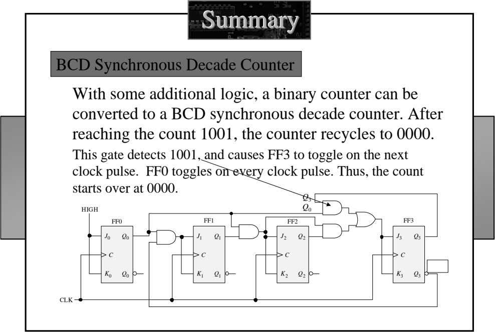 SummarySummarySummary BCD Synchronous Decade Counter With some additional logic, a binary counter can be converted