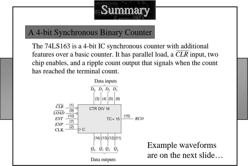 SummarySummarySummary A 4-bit Synchronous Binary Counter The 74LS163 is a 4-bit IC synchronous counter with