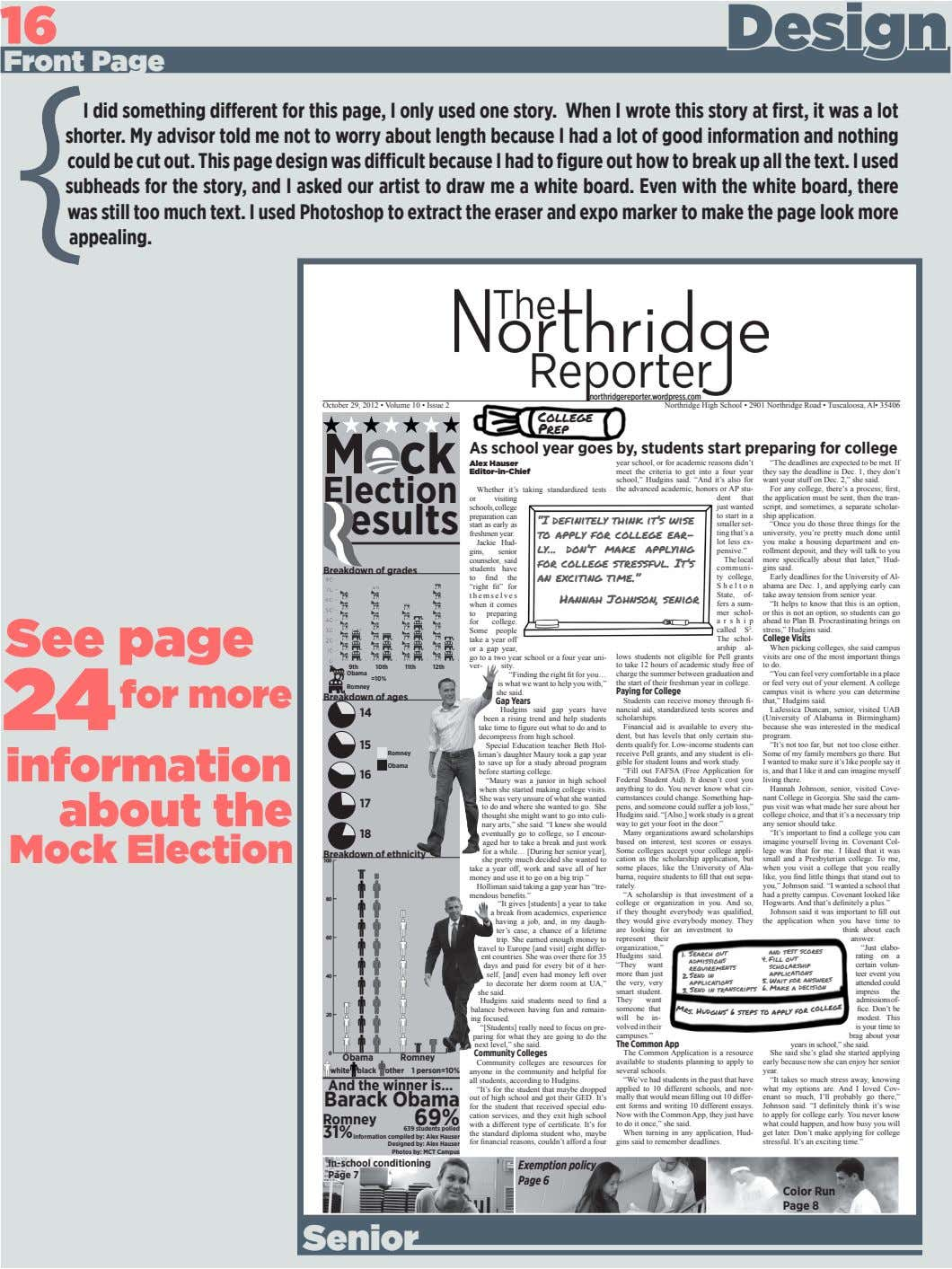 16 Design Front Page I did something different for this page, I only used one