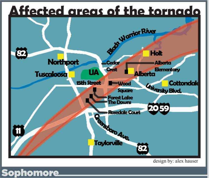 Affected areas of the tornado design by: alex hauser Sophomore