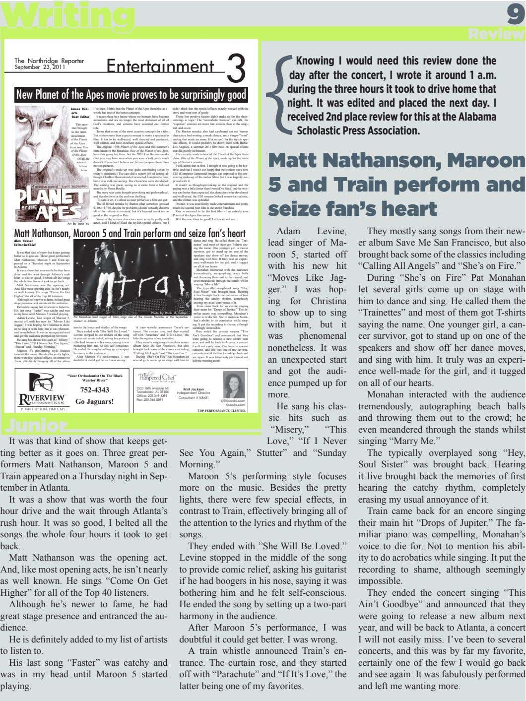 Writing 9 Review The Northridge Reporter Entertainment 3 September 23, 2011 Knowing I would need